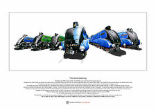 Six LNER A4 Pacific locomotives - Ltd Edition Fine Art Print A3 size