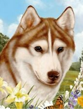 Outdoor Small Flag Siberian Husky Red Dog Summer Flowers Garden Flag