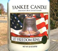 """Yankee Candle Retired """"LET FREEDOM RING"""" Patriotic ~ WHITE LABEL 22 oz.~VHTF NEW"""
