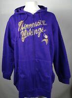 Minnesota Vikings NFL Womens Plus Purple Full ZIp Hoodie XL 2XL 3XL