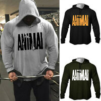 "Men's GYM Workout Print ""ANIMAL"" Bodybuilding Cotton Raglan Hoodies Sweatshirts"