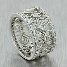 Vintage Estate Art Deco Style 18k Solid White Gold 1.60ctw Diamond Filigree Ring