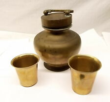 Antique Brass Milk Jug Container Pot India Nesting Cup Lid Holy Water Vessel Vtg
