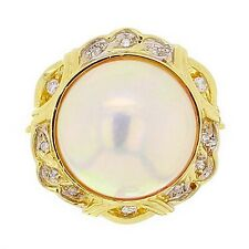 14k Yellow Gold 0.17ctw Diamond & 14mm Mabe Pearl Cocktail Ring