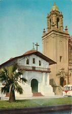 Postcard San Francisco Mission Dolores CA California old bus