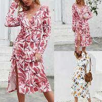 Women's Long Sleeve V Neck Side Slit Casual Evening Party Floral Slim Midi Dress