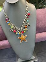 Vintage Silver Tone Colorful Multi Color Faceted Ocean Starfish  Necklace 18""