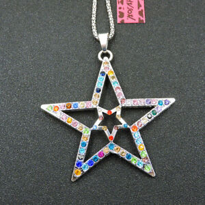 Shiny Multi-Color Crystal Exquisite Star Pendant Betsey Johnson Necklace