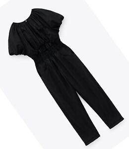 ZARA NEW WOMAN LONG CUT-OUT JUMPSUIT BALLOON SLEEVES BLACK XS-XL 8372/078