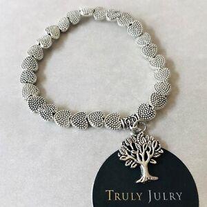 UK Ladies Designer Silver Beaded Tree Of Life Charm Bracelet Jewellery Gift