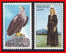 Iceland 1966 Eagle Bird & National Costume Sc#378-79 Mnh Cv$27.00 Raptors E11