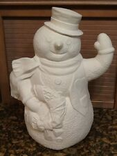 "Large Snowman with wreath- Christmas Ceramic Bisque 16"" tall Ready to Paint"