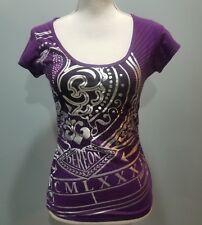 DEREON Womens Top Purple Silver Graphic Fleur de Lis Medium Ruched Sides -127