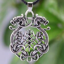 Norse Viking Collana con Pendente Double Dragon