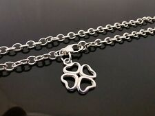 "3mm Genuine 925 Sterling Silver Anklet Ankle Chain 4 Leaf Clover Charm 10"" 25cm"
