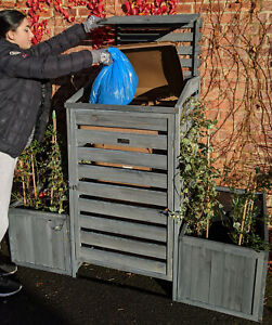 BinGarden 3-in-1 Single Wheelie Bin Store Cover +2 Recycle Recycling Box Storage