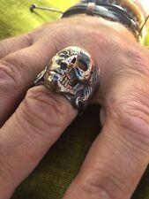 Biker Dream Harley Impressive Half Skull Half Woman Face Sterling Silver RingS12