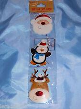 TAG Regalo di Natale confezione di 20 FOIL presenta Carino Babbo Natale Albero Renna Pinguino