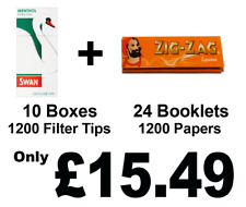 1200 Zig Zag Liquorice Rolling Papers +1200 Swan Menthol Extra Slim Filter Tips