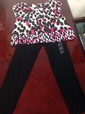 Girls Gap Kids Small / 6-7 Short Sleeve 2-Piece Set Blouse & Legging w Lace, NWT