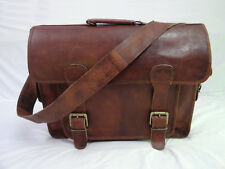 """Real Leather Briefcase Messenger Bag 15.6"""" Laptop Satchel Business Shoulder Bag"""