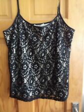 Oasis strappy top. Size L. 54% polyamide 46% viscose. Black lace over cream.