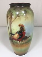 "Rare R.S. Germany Hand Painted Porcelain Vase Pheasants Scene 7 1/2"" Tall"