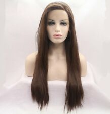 Long Straight Dark Brown Synthetic Front Lace Wigs with Side Bangs High Quality