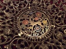 Vintage Israel Tamar Brass Plate Platter Bowl Lacquered Deer Ornate