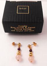 AVON GENUINE ROSE QUARTZ  & GARNET PIERCED EARRINGS W/ SURGICAL STEEL POSTS NOS