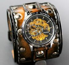 Wide Leather Cuff Watch, Steampunk Watch, Double Buckle Watch Strap