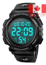 Men s Large Face Digital Outdoor Sports Waterproof Watch LED Luminous Alarm S...