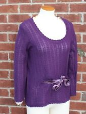 NWT  Ralph Lauren Black Label Purple 100% Cashmere Knit  Sweater MSRP $598 Large