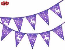 Renne violet étoiles Joyeux Noël Guirlande fanions 15 DRAPEAUX PAR Fête Déco