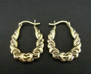 Earrings Hoops Gold Vermeil over Sterling Silver 925 Pierced Heart with Texture