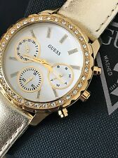 Guess Women's Gold Tone Metallic Leather Strap White Chronograph Watch U0903L2