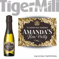 PERSONALISED gold mini Champagne mini wine labels Wedding Favour Hen Night Party