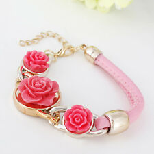 GOLD TONE PINK ACRYLIC ROSE FLOWER BRACELET WITH PINK LEATHER 2 STRAPS