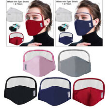 Reusable Cloth Face Mask Cotton PM2.5 Mouth Cover Eye Shield Mask with 2 Filters