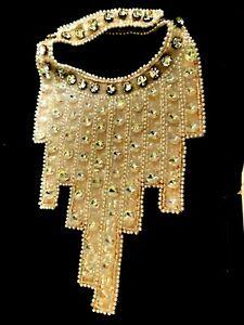Antique ART DECO  FRENCH Glass Crystal Rhinestone Collar Applique Original