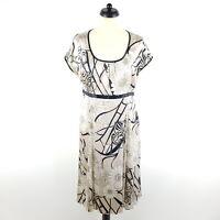 Elegance Paris Seide Kleid Damen Gr. DE 42 FR 44 Gold Schwarz Stretch Sommer