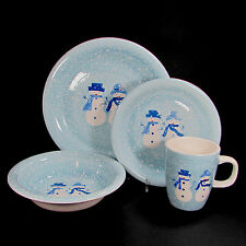Target Home WINTER FROST - SNOWMAN 4Pc Dinner Place Setting Blue Christmas
