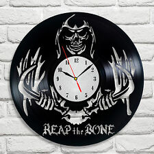 Reap the bone skull antlers design vinyl record clock home decor art hobby