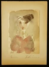 Greek fine art ,Watercolor on paper ,Signed Paris 1931.Unique .Woman in Red