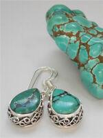 Classic 925 Silver Pear Cut Turquoise Ear Hook Party Jewelry Earrings Woman Gift