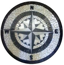 MARBLE FLOOR MEDALLION MOSAIC BLACK AND WHITE GRANITE 36 COMPASS ROSE STAR