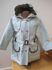 BURBERRY TODDLER Military Double Breasted TRENCH COAT Light Blue HOOD & BELT 2