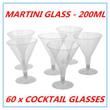 60 DISPOSAL PLASTIC CLEAR COCKTAIL MARTINI GLASS 200ML REUSABLE WEDDING PARTY AP
