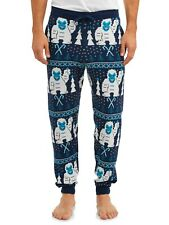 Men's Plus Abominable Snowman Sleep Knitted Jogger Pants (X-Large (40/42) Blue
