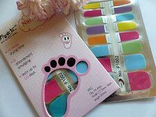 NAIL Art Autoadesivo COMPLETO TOE SMALTO Wrap Adesivo arcobaleno multicolore 12t